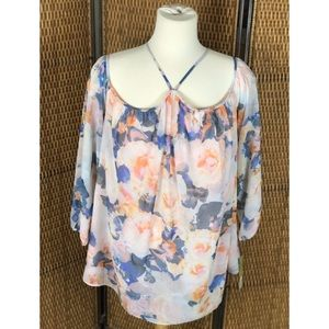 GIANNI BINI Long Sleeve Floral Top Size M NWT $79